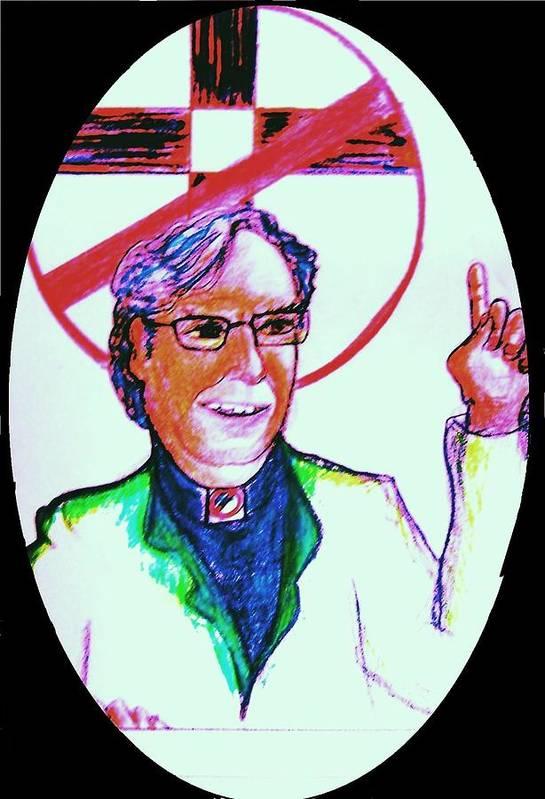 Atheist Art Print featuring the drawing Richard Dawkins Loves To Preach by Richard Hubal
