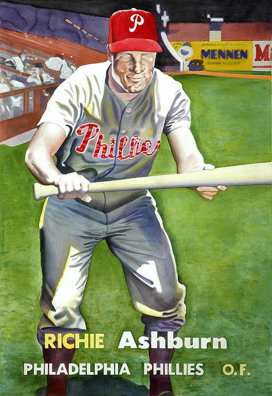 Baseball Art Art Print featuring the painting Richie Ashburn Topps by Robert Myers