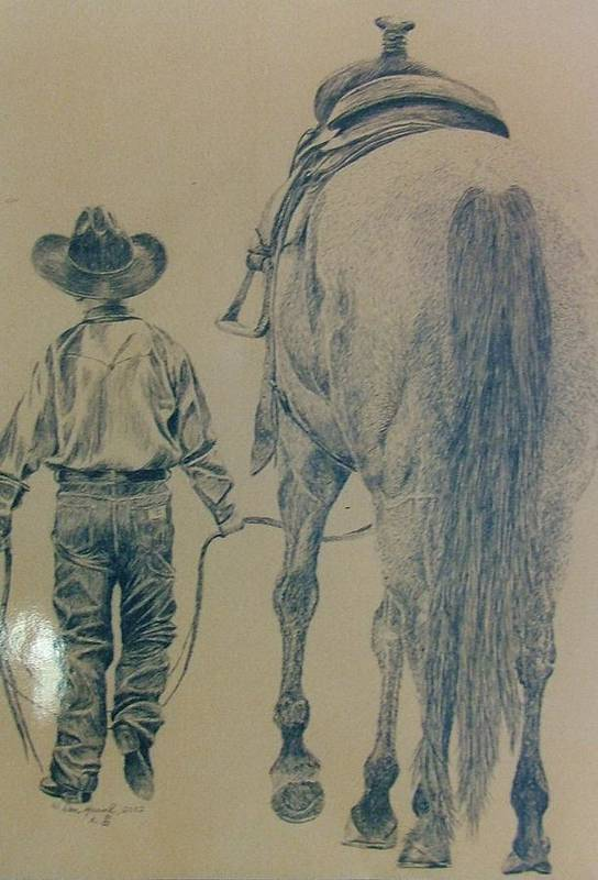 Horse Art Print featuring the drawing Rodeo Star by Dan Hausel