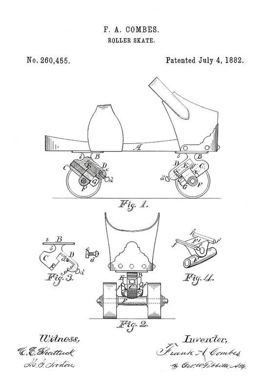 Roller Skate Patent Art Print featuring the photograph Roller Skate Patent - Restored Patent Drawing For The 1882 F. A. Combes Roller Skate by JESP Art and Decor