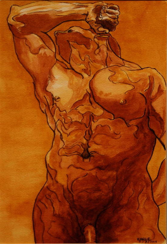 Male Nude Art Print featuring the painting Rome Series Vi by Dan Earle