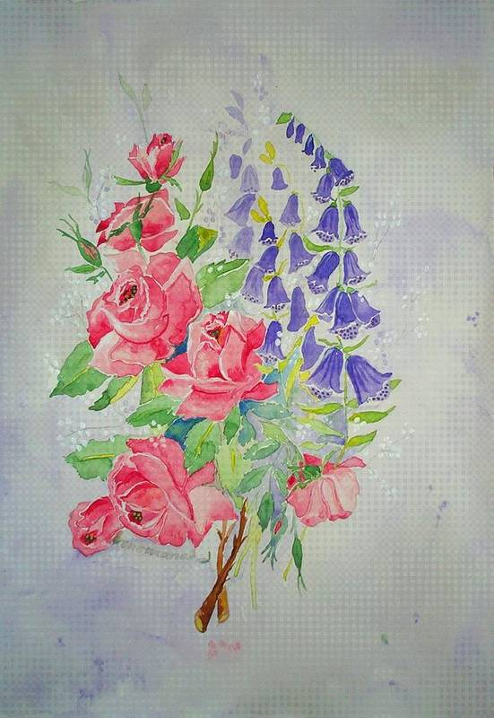 Roses Flowers Art Print featuring the painting Roses And Digitalis by Irenemaria