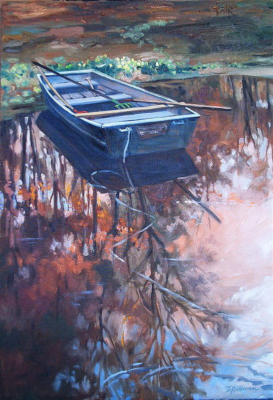 Water Art Print featuring the painting Rowboat Ashore by Dianna Willman