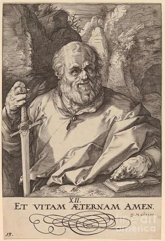Art Print featuring the drawing Saint Matthias by Hendrik Goltzius