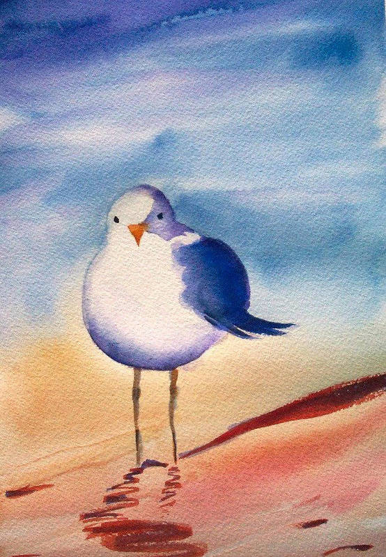 Gull Art Print featuring the painting Sassy Seagull by Ruth Bevan