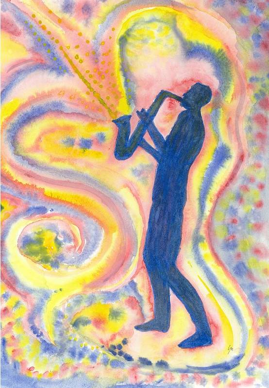 Watercolor Art Print featuring the painting Saxman by Louise Marquis