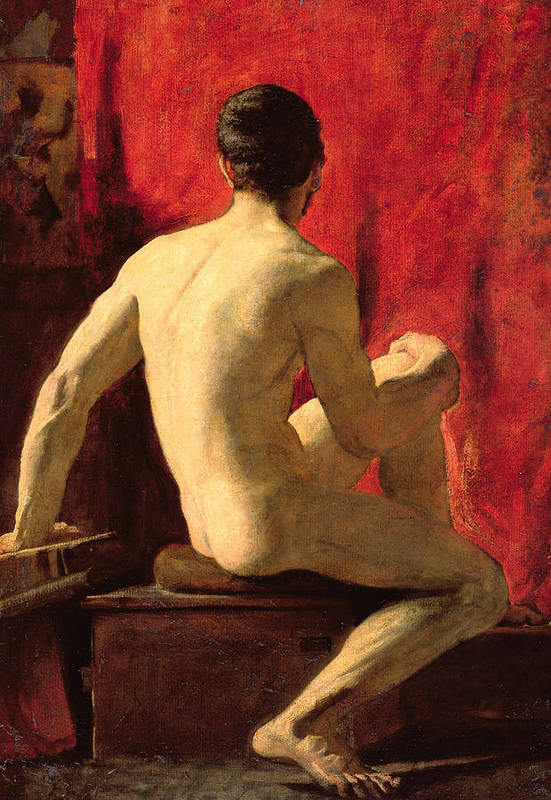 Seated Male Model (oil On Millboard)nude; Posed; Rear View; Posterior; Back; Muscular; Young; Youth; Life Study; Posing; Victorian; Man Art Print featuring the painting Seated Male Model by William Etty