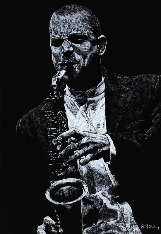 Musician Art Print featuring the pastel Sensational Sax by Richard Young