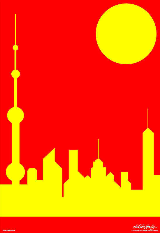 Art Print featuring the digital art Shanghai Sunshine by Asbjorn Lonvig