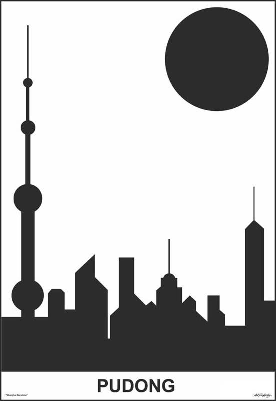 Shanghai Sunshine Art Print featuring the digital art Shanghai Sunshine Black White by Asbjorn Lonvig