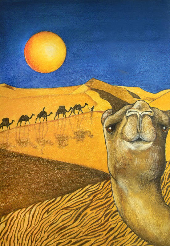 Camel Art Print featuring the painting Ship Of The Desert by Robert Lacy