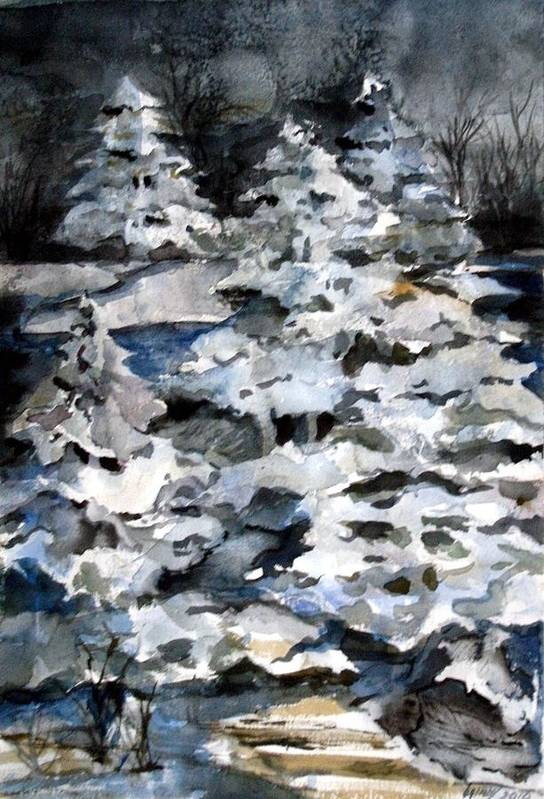 Snow Art Print featuring the painting Silent Night by Mindy Newman