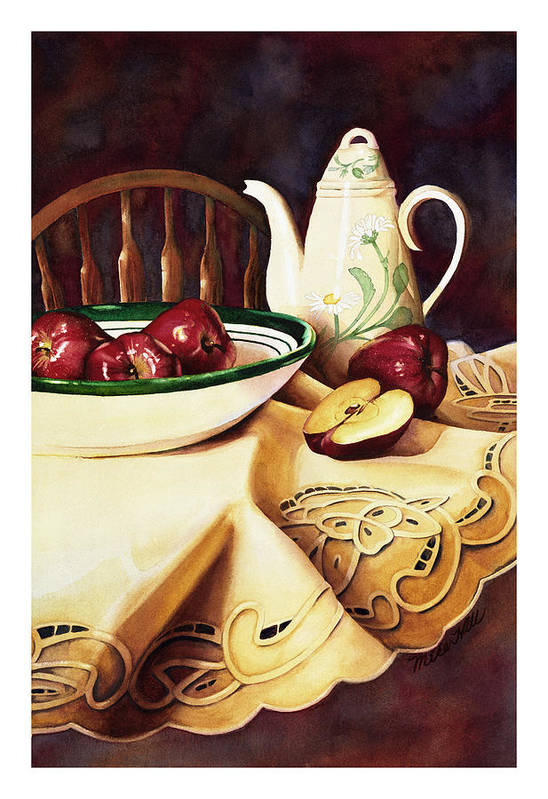 Apples Delicious Red Fruit Pitcher Tablecloth Still Life Cut Porcelain Daisy Pattern Art Print featuring the painting Simply Delicious by Mike Hill
