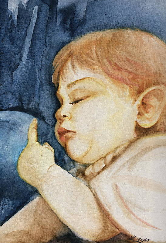 Portrait Commission Art Print featuring the painting Sleep by L Lauter