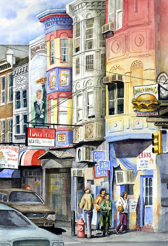 Street Art Print featuring the painting South Street by Sam Sidders