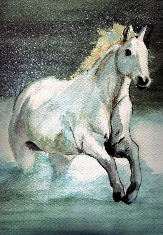 White Horse Water Running Horse Art Print featuring the painting Splash by Debra Sandstrom