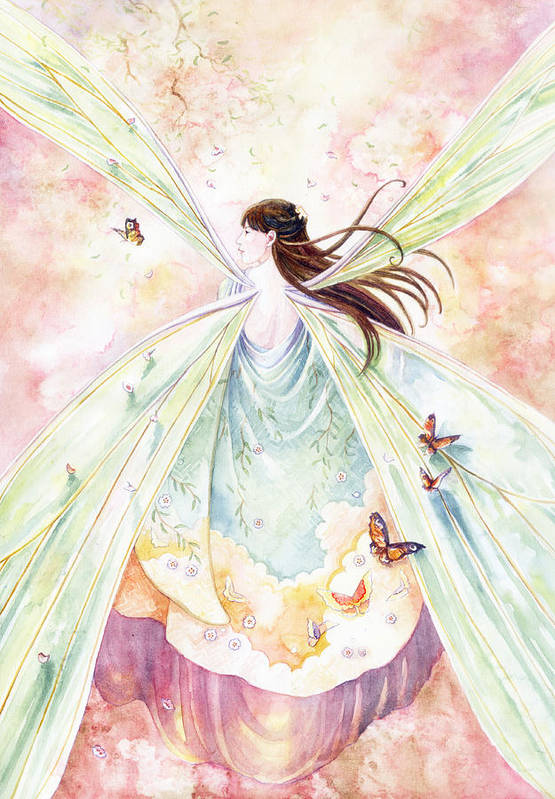 Fairy Art Print featuring the painting Spring Blossoms by Janet Chui