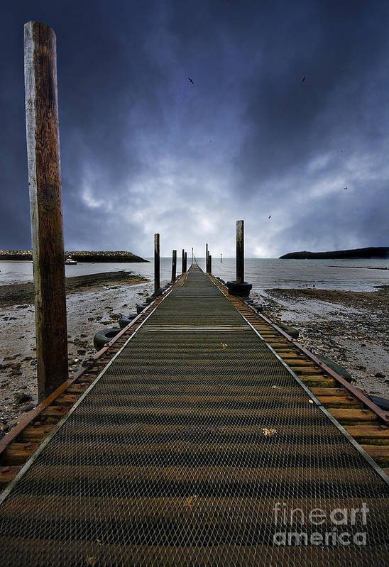 Angling Art Print featuring the photograph Stormy Jetty by Meirion Matthias