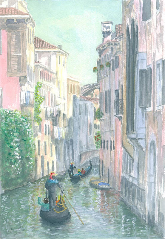 Venice Art Print featuring the painting Street Scene by Dan Bozich
