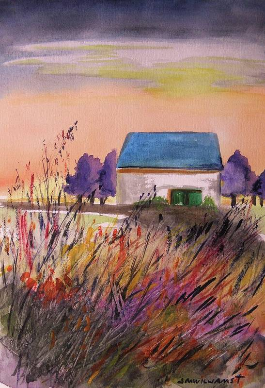 Watercolor Art Print featuring the painting Sunset Grasses by John Williams