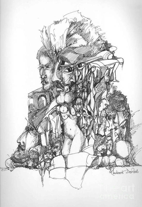 Faces Art Print featuring the drawing Surreal 12 by Padamvir Singh