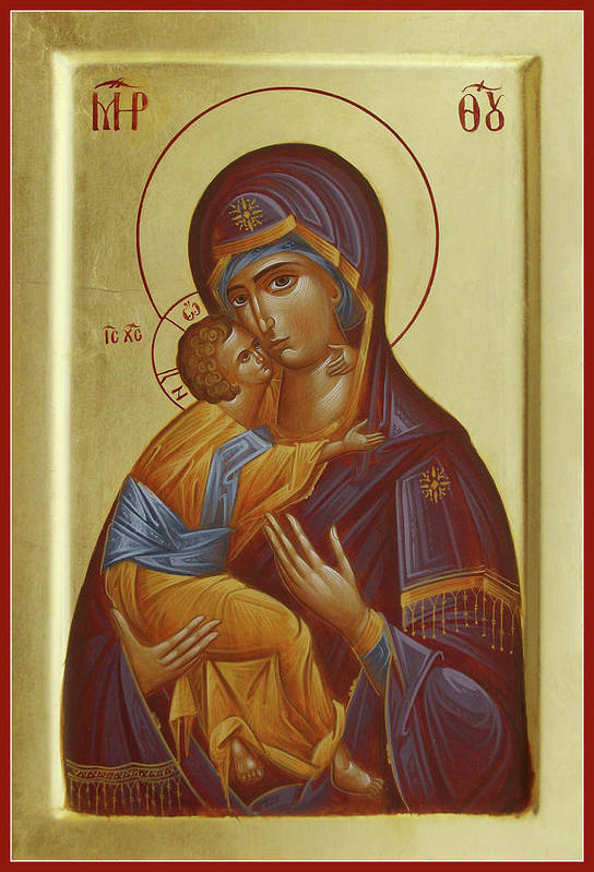 Vladimir Mother Of God Art Print featuring the painting Sweet Kissing Mother Of God by Julia Bridget Hayes