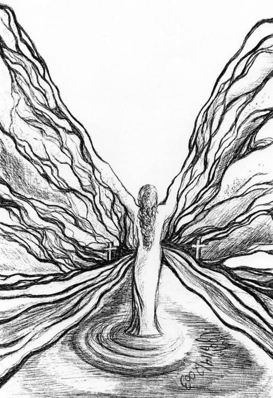 Doodle Art Print featuring the drawing The Angel Within by Mikel Zuiderveen