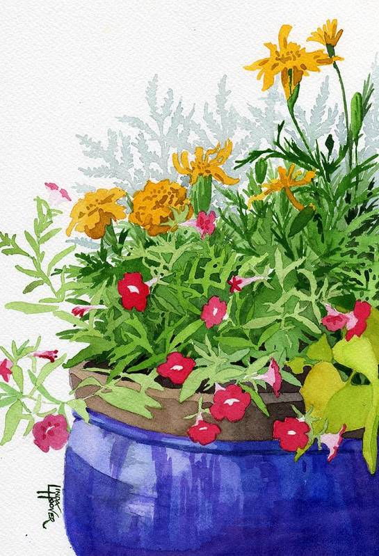 Marigold Art Print featuring the painting The Blue Pot by Linda Hoover