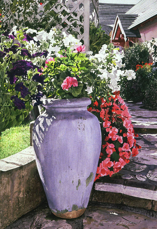 Flowers Art Print featuring the painting The Blue Urn by David Lloyd Glover
