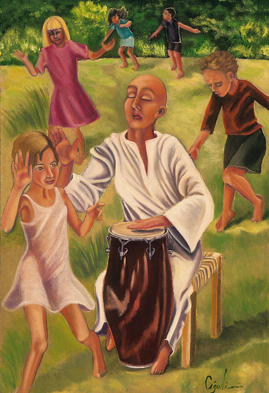 Children Art Print featuring the painting The Dance by Gloria Cigolini-DePietro