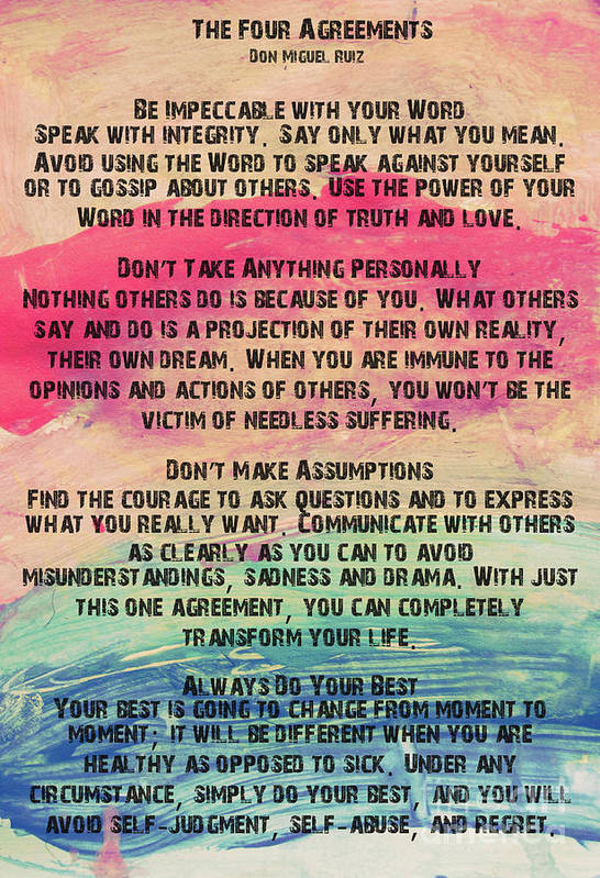 The Four Agreements 11 Art Print By Andrea Anderegg