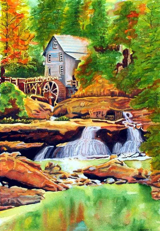 Watercolor Art Print featuring the painting The Grist Mill by Gerald Carpenter