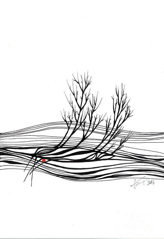 Trees Art Print featuring the drawing The Seed by Aniko Hencz