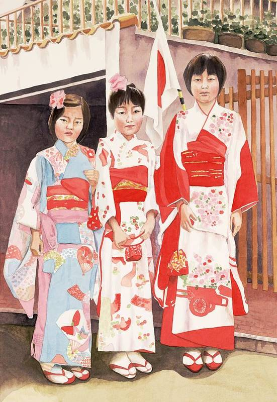 Three Japanese Girls In Kimono Art Print featuring the painting Three Sisters by Judy Swerlick