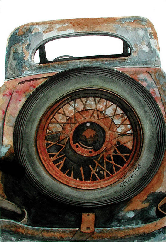 Car Art Print featuring the painting Tired by Ferrel Cordle