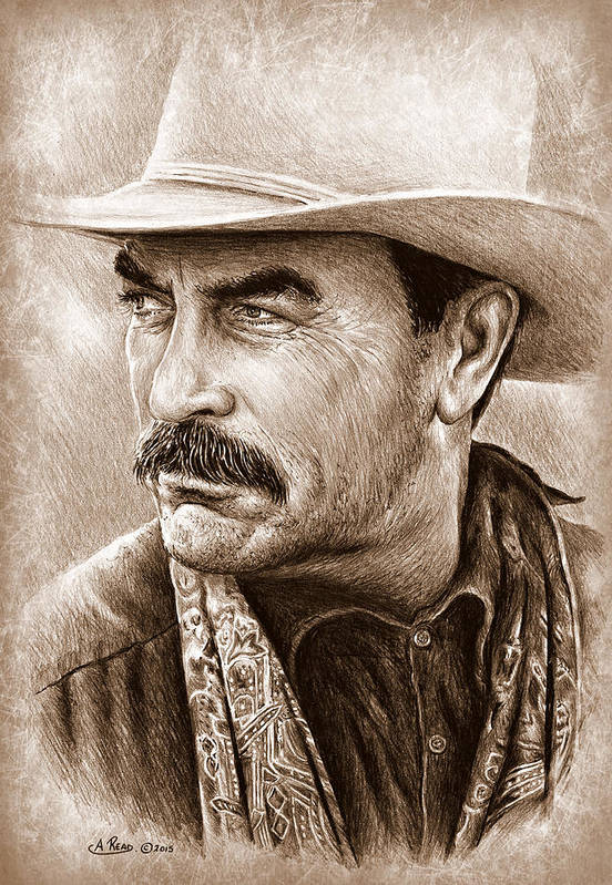 Tom Selleck Art Print featuring the painting Tom Selleck The Western  Collection by Andrew Read 79bd971cfb7e