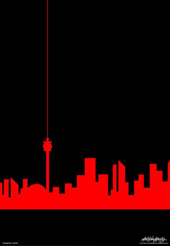 Toronto Art Print featuring the painting Toronto Skyline by Asbjorn Lonvig