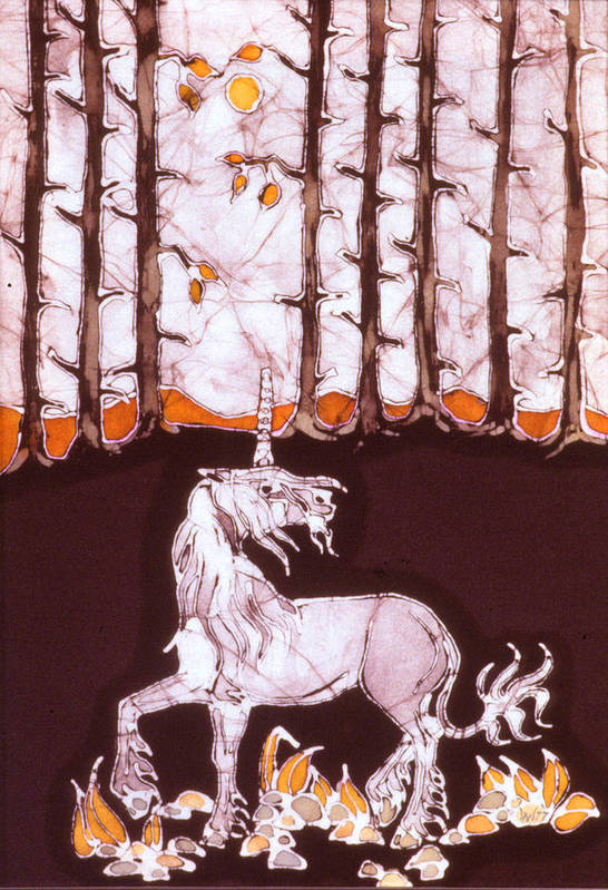 Unicorn Art Print featuring the tapestry - textile Unicorn Below Trees In Autumn by Carol Law Conklin