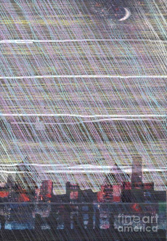 Moon Urban City Rain Lunar Town Art Print featuring the digital art Urban Moon by Andy Mercer