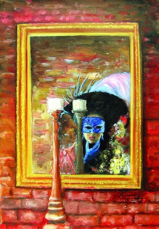 Venice Art Print featuring the painting Venetian Girl Looking In Mirror by Leonardo Ruggieri