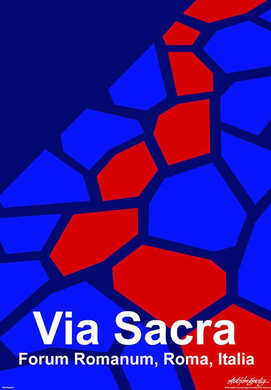 Via Sacra Art Print featuring the digital art Via Sacra - Text by Asbjorn lonvig