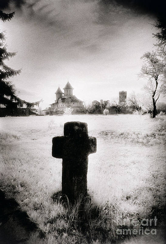 Vampire; Ghostly; Cross; Tombstone; Dracula Art Print featuring the photograph Vlad Draculas Palace by Simon Marsden