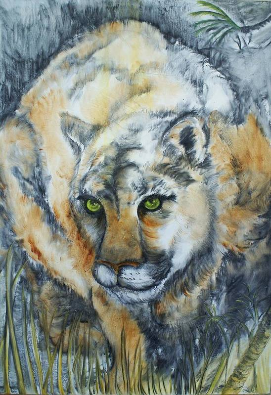 Cat Art Print featuring the painting Waiting... by Elsa Zarduz