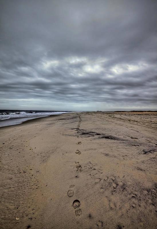 Beach Art Print featuring the photograph Walk The Line by Evelina Kremsdorf