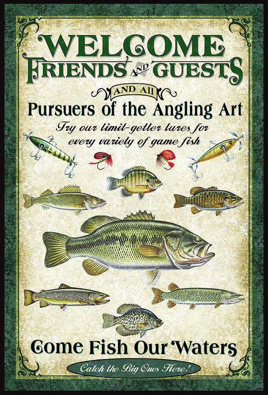 Fish Art Print featuring the painting Welcome Friends Sign by JQ Licensing