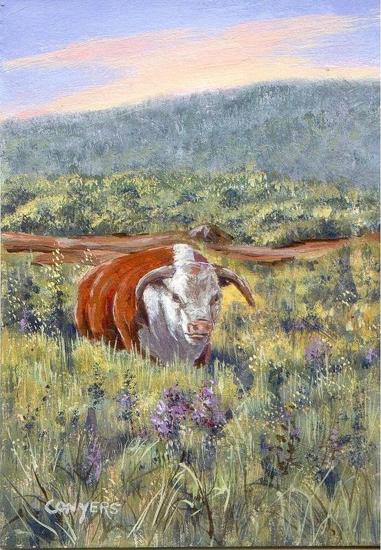 Hereford Bull Art Print featuring the painting White Face Bull by Peggy Conyers
