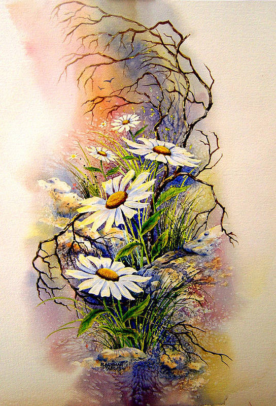 Floral Art Print featuring the painting Wild Daisies by Brooke Lyman