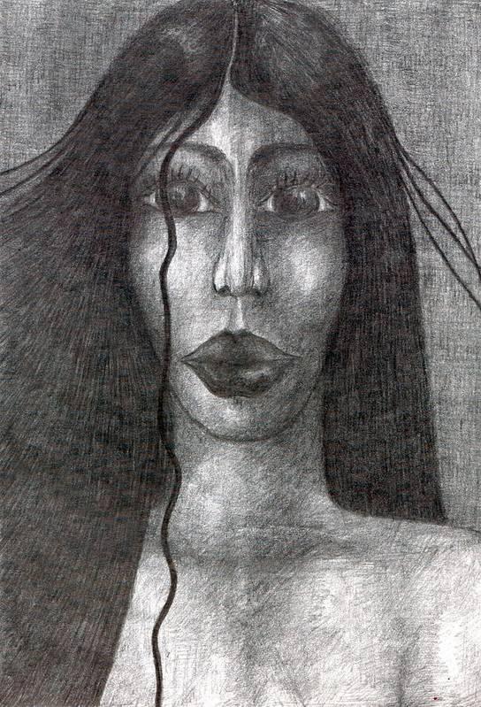 Psychedelic Art Print featuring the drawing Wisp by Wojtek Kowalski