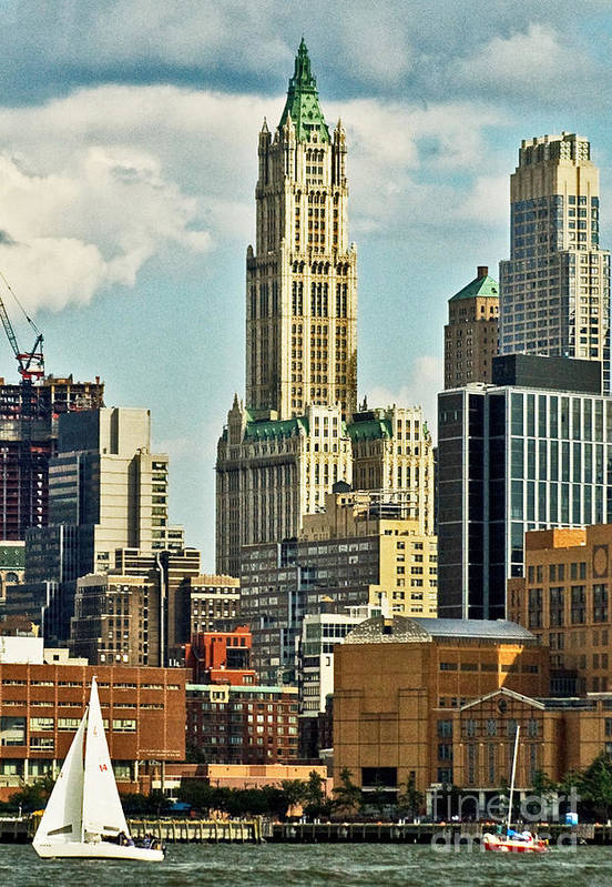 Woolworth Building Art Print featuring the photograph Woolworth Building From Hudson River by Allan Einhorn