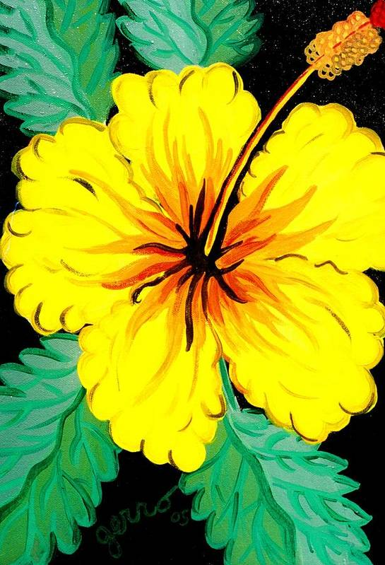 Hibiscus Artwork Art Print featuring the painting Yellow Hibiscus by Helen Gerro